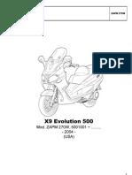 Piaggio x9 Evolution 500 Parts Catalog Ita Eng Fra Ger Esp