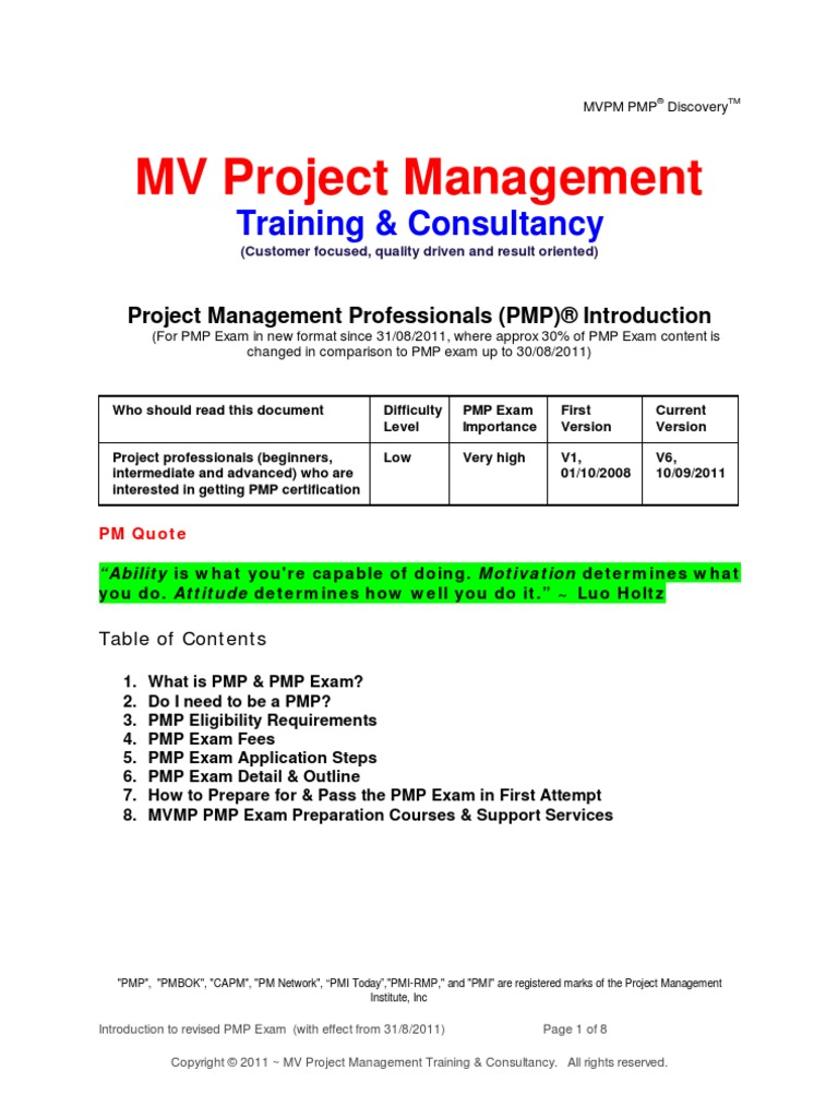 Pmp Revised Exam Introduction Mv Project Management V6 Project