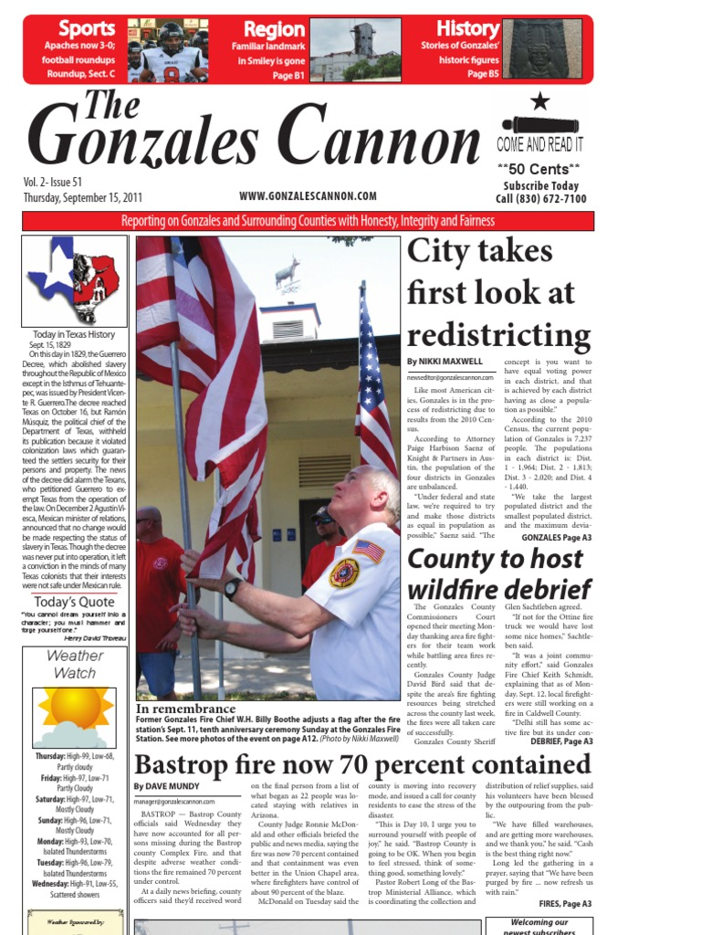 Gonzales Cannon Sept. 15, 2011 Issue | Tea Party Movement | United States  Government