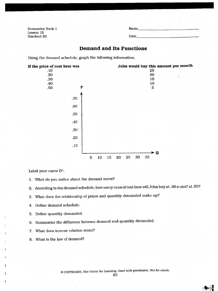 Printables Supply And Demand Worksheet supply and demand worksheets