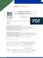Certificado de registro de empresa
