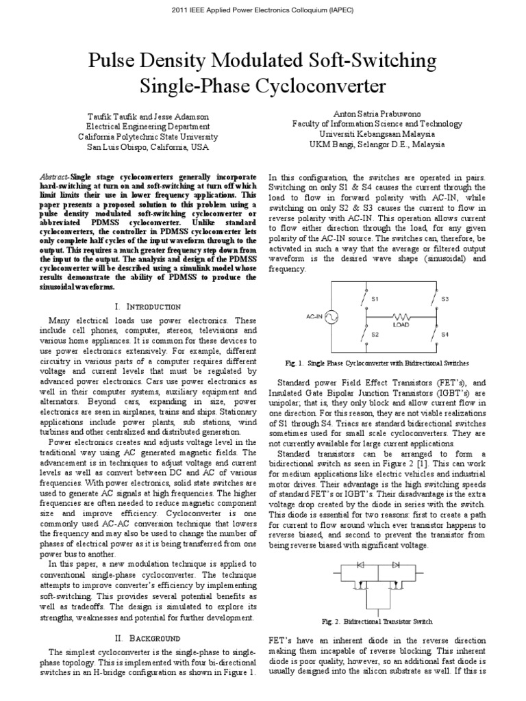 Pulse Density Modulated Soft Switching Single Phase Cycloconverter Transistors Simple High Side Igbt Switch Electrical Engineering Power Electronics Transistor
