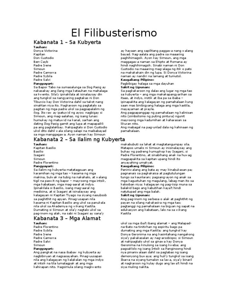 Filipino IV - El Filibusterismo 1-15