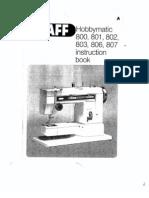Manual Pfaff Hobbymatic 806 en iglés