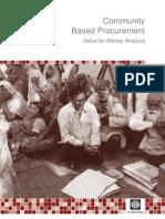 Community Based Procurement Value for Money Analysis