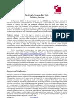 Resolving the European Debt Crisis Conference Summary