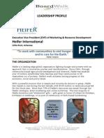 Job Opportunity-Heifer International VP of Marketing