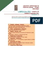 LAMPEA-Doc 2011 - numéro 31 / Vendredi 16 septembre 2011