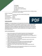 Job Description - Program Manager 2011