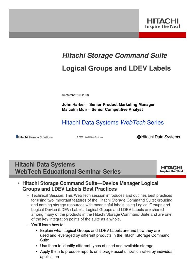 hitachi storage command suite logical groups and ldev labels rh es scribd com