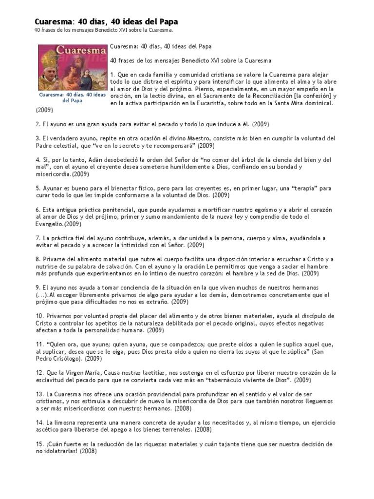 Cuaresma 40 Días 40 Ideas Del Papa 40 Frases De Los