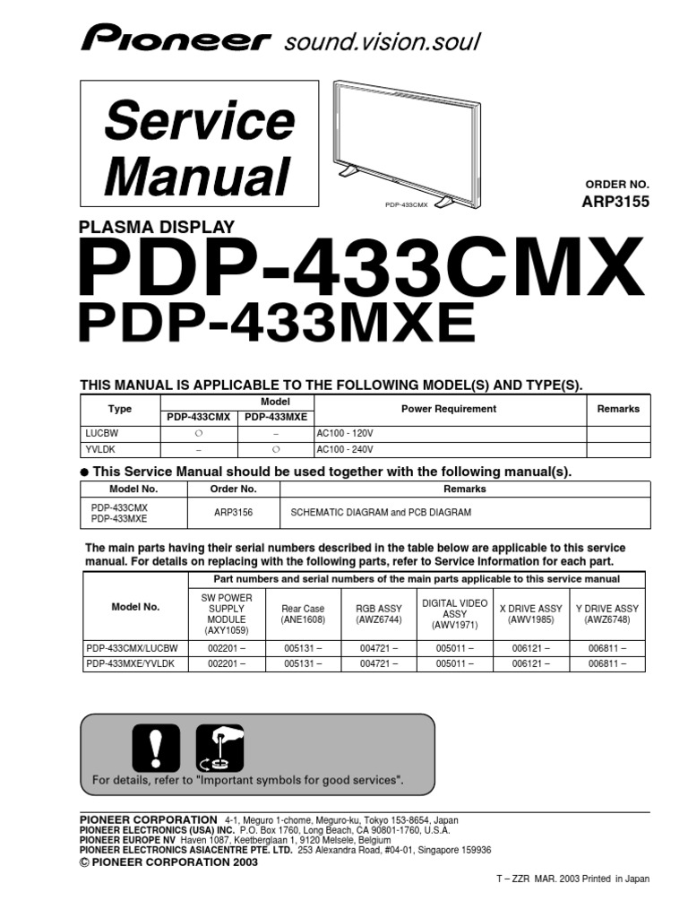 Pioneer Pdp433 Power Supply Electrical Connector R4623 Rotary Switch Wiring Diagram