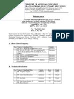 Announcement Result of Procurement MoNEV Consultant ADB INVEST