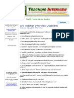 100 Teacher Interview Questions