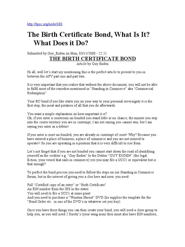 Birth Certificate Bond Surety Bond Indemnity