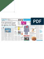 """""""Un premio que se gana en línea"""" El Comercio 150911"""
