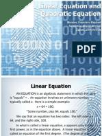 Linear Equation and Quadratic Equation