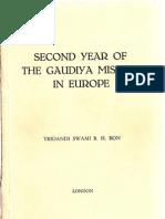 Tridandi Swami BH Bon - Second Year of the Gaudiya Mission in Europe