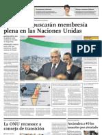 Palestinos buscarán membresia plena en las Naciones Unidas