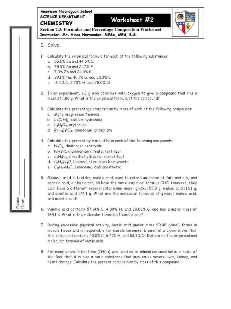 Worksheet1 Mole Unit – Percent Composition Worksheet