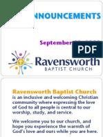 Ravensworth Baptist Church Announcements, September 18, 2011