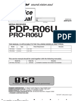 7485658-Pioneer Pdp-r06u Pro-r06u Media Receiver Service