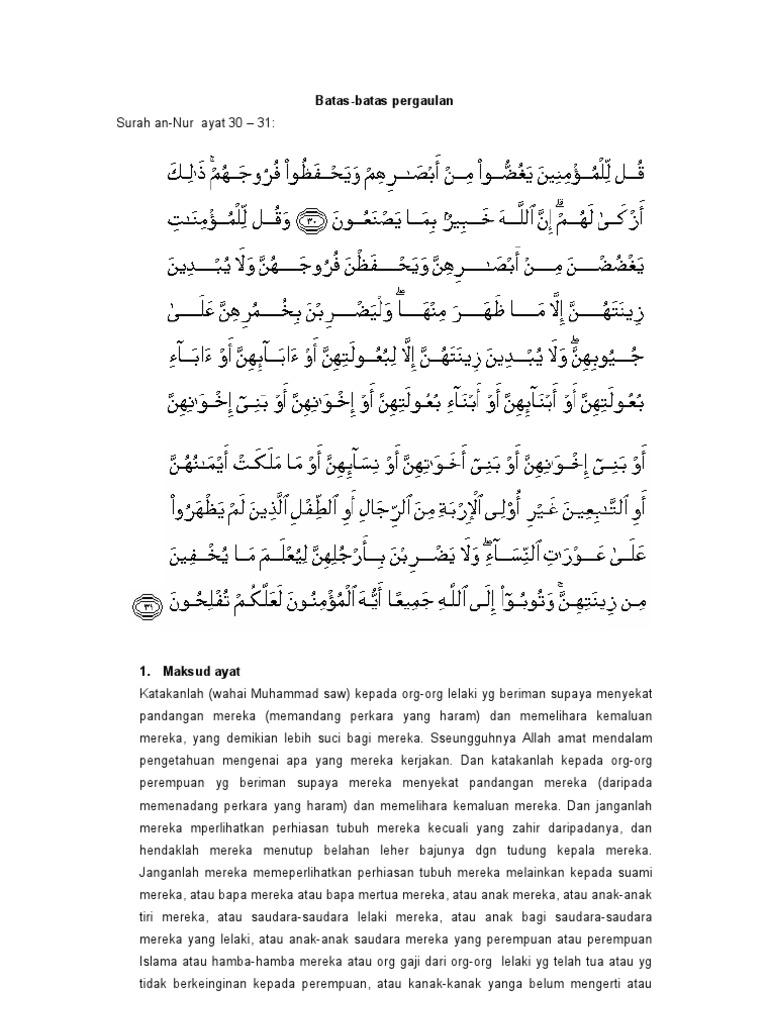 Surah Annur Ayat 30 31 Bataspergaulan