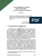 Neoplatonismo en La Lirica Amorosa Del Siglo de Oro