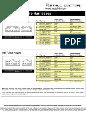 [ZTBE_9966]  Toyota radio Wiring | Green | Color | 1983 Toyota Camry Radio Wiring Diagram |  | Scribd