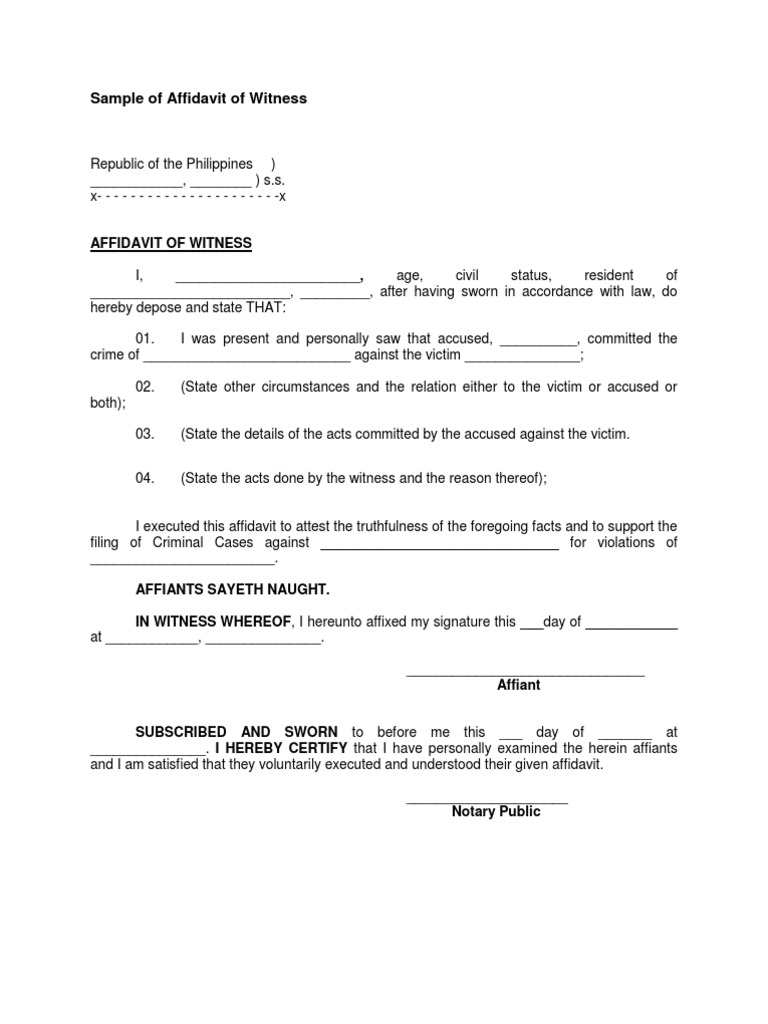 Doc400518 Simple Affidavit Sample Sample Affidavit Free Sworn – Sample Affidavit Format