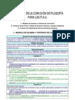 Acuerdos de la comisión de Filosofía para las PAU