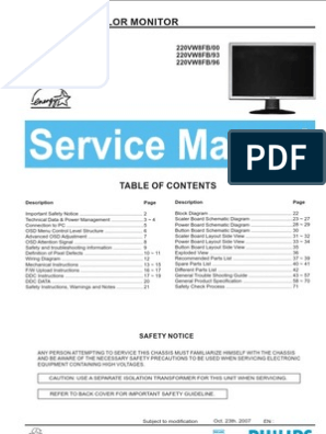Philips LCD Monitor 220VW8FB service manual | Pixel | Computer Monitor