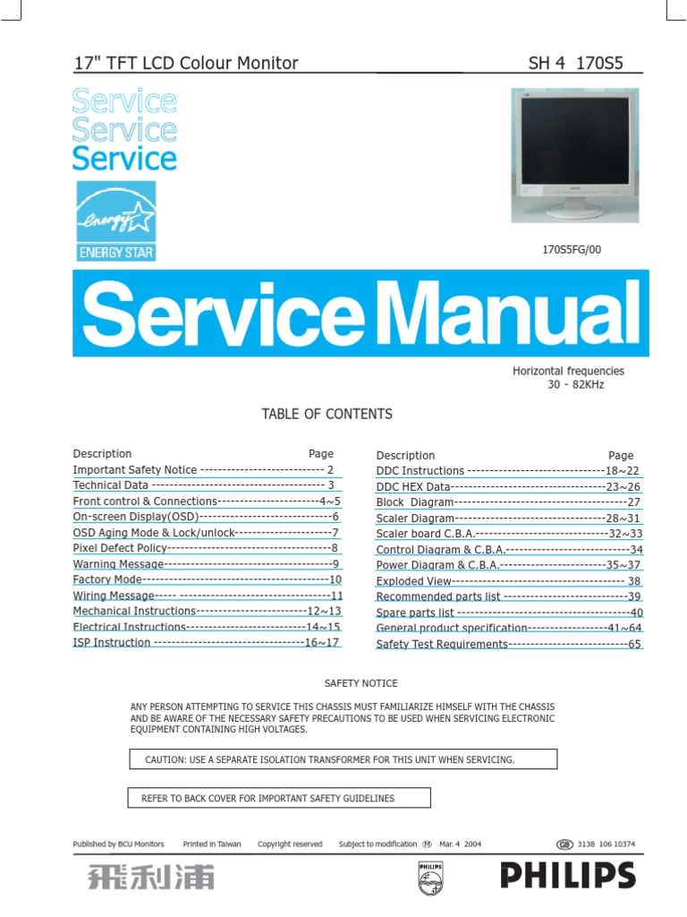 Philips LCD Monitor 170S5,Chassis SH4 service manual | Pixel | Computer  Monitor