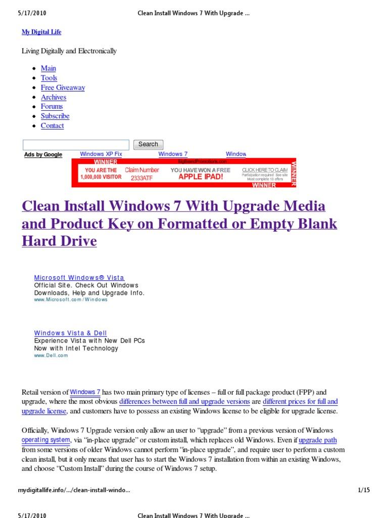 free windows 7 upgrade for vista