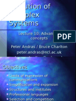 Evolution of Complex Systems - Lecture 10