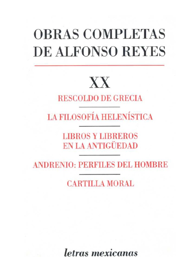 Reyes, Alfonso. Obras Completas XX
