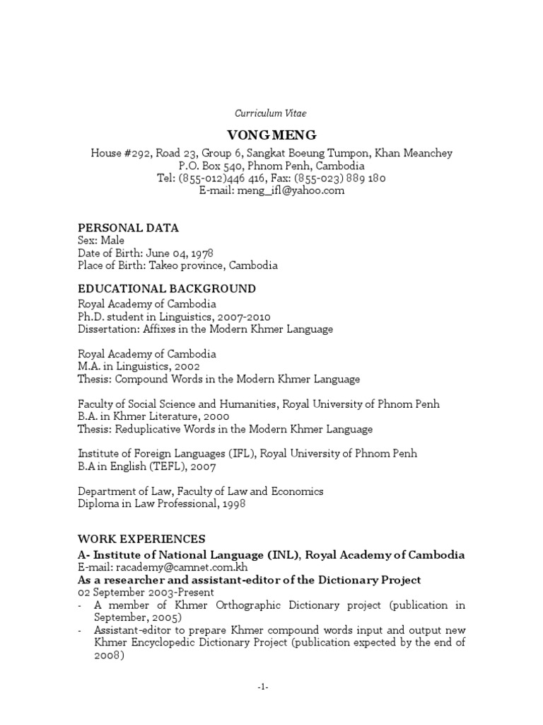 Resume Cambodia Human Communication