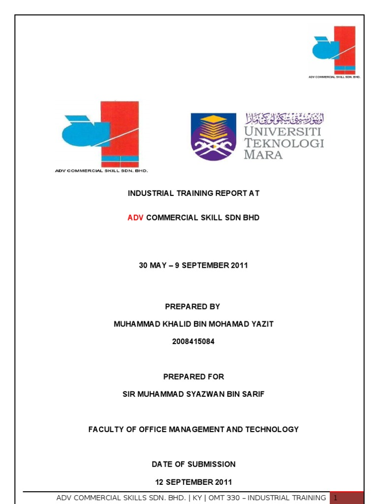 Uitm Unikop Omt 330 Industrial Training Report Personal Computers Records Management
