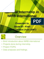 Summar Internship in IMRB International