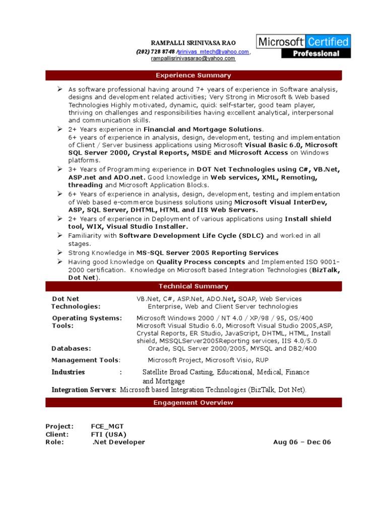 resume Resume For Dot Net Developer resume srinivas dotnet microsoft sql server web application