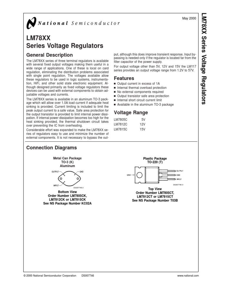 Ds National 78xx Regulator Power Supply Electromagnetism Circuit Schematic Electronics Voltage With Lt1086