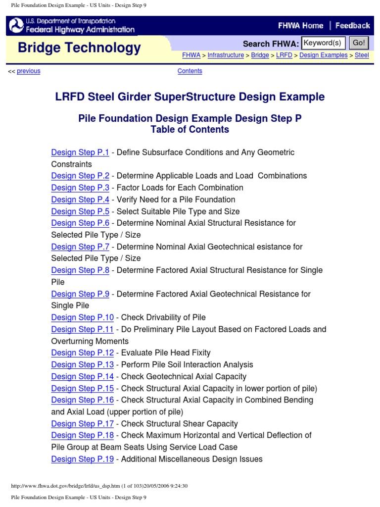 Pile Foundation Design Example - US Units - Design Step 9 | Deep