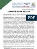Informe de 16 de setembro de 2011 do Comando Nacional de Greve