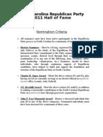 Nomination Criteria 2011