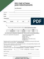 Program Advertisement Form 2011