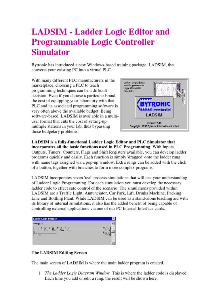 Lad Sim Programmable Logic Controller Simulation Diagram Simulator