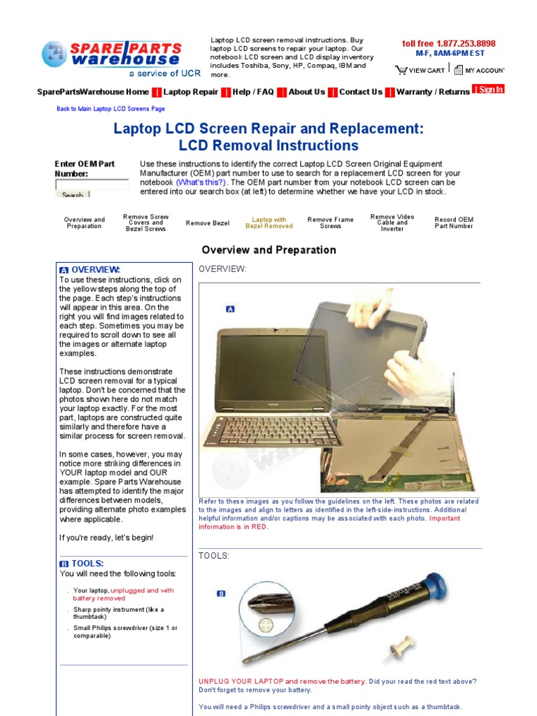 Laptop LCD Screen Removal Instructions | Electrical Connector | Laptop
