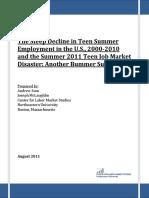 Decline in Teen Summer Job Market 8-2011