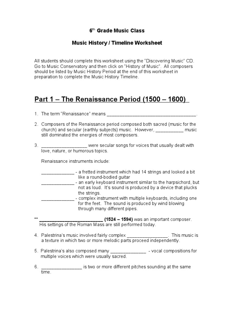 Music History Worksheet   Classical Period Music   Composers