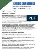 Spiritual Psychic Self Defense Course Notes John v Ladalski